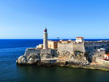 Havana, Cuba light house of La Cabana Fort and Morro Castle. On a clear day with a view from the water stock image