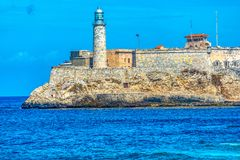 Havana Cuba: Lighthouse at Morro Castle Stock Photography