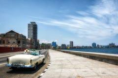 Havana Cuba Malecon Classic Car Immagine Stock Libera da Diritti