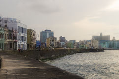 Havana, Cuba - May 14, 2015: View of Malecon El Malecon seafront boulevard in the Old Havana district with Art Deco and Neo Moor. A seafront boulevard called Royalty Free Stock Image