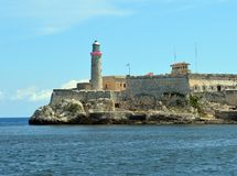 Havana, Cuba: Morro Castle (Castillo de los Tres Reyes Magos del Morro). And Havana Bay royalty free stock photo