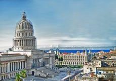 HAVANA, CUBA - NOV 14, 2016. View of Havana skyline and Capitol Royalty Free Stock Photos