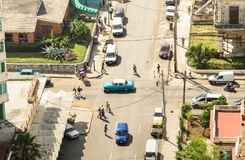 Bird eye aerial view of the old town of Havana in Cuba royalty free stock photos