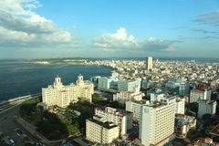 Havana, Cuba - November 18th of 2015: Aerial view of Havana's malecon (built between 1901 and 1952). Hotel National and other Vedado buildings with bay Royalty Free Stock Photography
