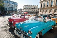 HAVANA, CUBA - OCT 18, 2016. Colorful vintage classic American c Royalty Free Stock Photos