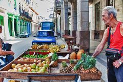 HAVANA, CUBA- OCT 24, 2016: street seller of greenness in havana. Street seller of greenness in havana Stock Images