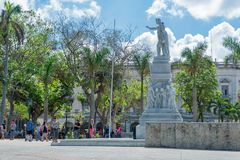 HAVANA, CUBA - OCTOBER 20, 2017: Cetral Park in Havana with Statue of Jose Marti and Jose Vivalta. Cetral Park in Havana with Statue of Jose Marti and Jose Royalty Free Stock Images