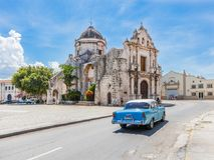 Church in old Havana. Havana, Cuba-8 October, 2016. Church Iglesia de San Francisco de Paula on 8 of October 2016 in Old Havana, Cuba royalty free stock image