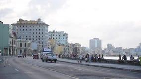 HAVANA, CUBA - OCTOBER 20, 2017: Havana Old Town with People. Malecon Avenue stock video footage