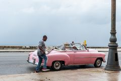 HAVANA, CUBA - OCTOBER 21, 2017: Old Car in Havana, Cuba. Pannnig. Retro Vehicle Usually Using As A Taxi For Local People and Tour Stock Photography