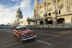HAVANA, CUBA-OCTOBER 14: Panning with old car on streets of Hava Stock Photography
