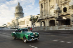 HAVANA, CUBA-OCTOBER 14: Panning with old car on streets of Hava Stock Image
