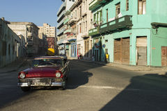 HAVANA,CUBA-OCTOBER 13:People and old car on streets of Havana O Stock Photography