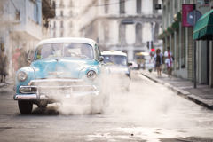 HAVANA,CUBA-OCTOBER 14:People and old car on streets of Havana O Royalty Free Stock Image