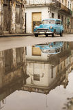 HAVANA,CUBA-OCTOBER 15:People and old car on streets of Havana O Royalty Free Stock Photo