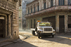 HAVANA,CUBA-OCTOBER 13:People and old car on streets of Havana O Royalty Free Stock Photos