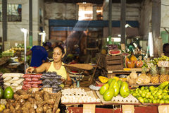 HAVANA,CUBA-OCTOBER 13:Woman selling fruits in market in Havana Royalty Free Stock Photos
