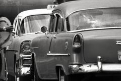 11/03/2015, Havana, Cuba: Old American cars stand face off highlighting their details through natural lighting stock photography