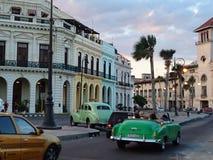 Havana, Cuba. Old cars in Havana City, Cuba, at sundown Royalty Free Stock Photography