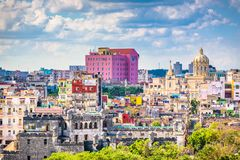 Havana, Cuba Old Town Skyline. Havana, Cuba old town rooftop cityscape view in the day Royalty Free Stock Photography