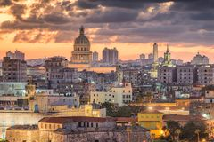 Havana, Cuba Old Town Skyline. Havana, Cuba old town rooftop cityscape view after sunset Royalty Free Stock Image
