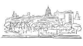 Havana Cuba Panorama Outline Sketch Photo stock