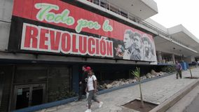 Havana, Cuba. POlitical propaganda on building in Havana at Havana Central district