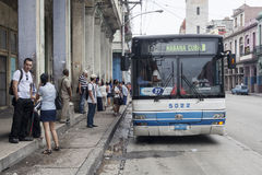 Havana, Cuba public transportation. There are very few new buses in Havana public transportation system. Mostly chinese production. Because deep economical Stock Images