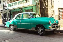 Old american car on Havana street Royalty Free Stock Images