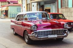 Old car on Havana street Royalty Free Stock Photos