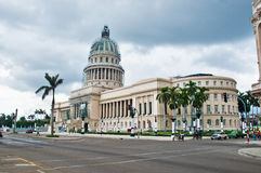HAVANA, CUBA - SEPT 10, 2016. View of Capitolio building under r Royalty Free Stock Photos