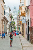 HAVANA, CUBA- SEPT 10, 2016: View of group of people walking in Royalty Free Stock Images