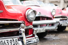 Havana, Cuba - September 22, 2015: Classic american car parked o. N street of Old Havana,Cuba. Classic American cars are typical landmark and atraction for whole Stock Photos