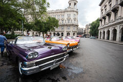 Havana, Cuba - September 22, 2015: Classic american car parked o. N street of Old Havana,Cuba. Classic American cars are typical landmark and atraction for whole Stock Image