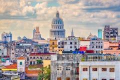 Havana, Cuba Skyline. Havana, Cuba downtown skyline with the Capitolio stock image