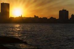 Havana (Cuba) skyline at sunset Stock Images