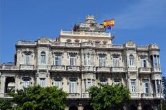 Havana, Cuba: Spanish Embassy. Flying Spanish and EU flags stock image