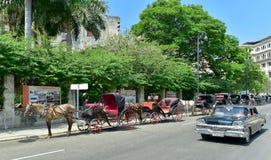 Havana, Cuba. Street scene with old car Royalty Free Stock Photo