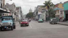 Havana, Cuba. Traffic in the Havana Central district with a old parliament building in the background