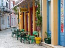 Havana Cuban Cafe Bar Straatbar in de stad van Lefkada royalty-vrije stock afbeelding