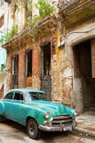 HAVANA - FEBRUARY 18: Classic car and antique buildings on Febru Royalty Free Stock Image