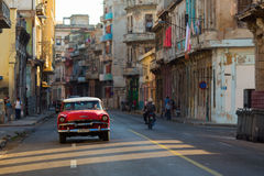 HAVANA - FEBRUARY 26: Classic car and antique buildings on Febru Royalty Free Stock Photo