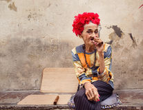 HAVANA - FEBRUARY 18: Unkown woman smoking cigar on February 18, Royalty Free Stock Photography