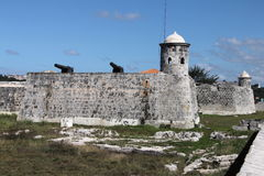 Havana Fort. Taken in Havana, Cuba around the centre of the city. Shows the La Punta castle of San Salvador with cannons Stock Image