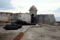 Havana Fort. Taken in Havana, Cuba around the centre of the city. Shows the La Punta castle of San Salvador with cannons Royalty Free Stock Photo
