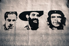 Havana Grafitti. Graffiti representing the Cuban national heroes, in Havana Royalty Free Stock Image