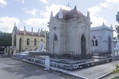 Havana Graveyard Mausoleum. One of the many mausoleums at Necropolis de Cristobal Colon, Havana, Cuba Royalty Free Stock Photos