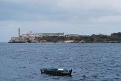 Havana Harbour with Boat in foreground Royalty Free Stock Image