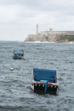 Havana harbour with castle. Havana harbour entrance  with   castle on a cloudy day Stock Images