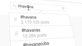 Havana hashtag search through social media posts. Animation stock video footage